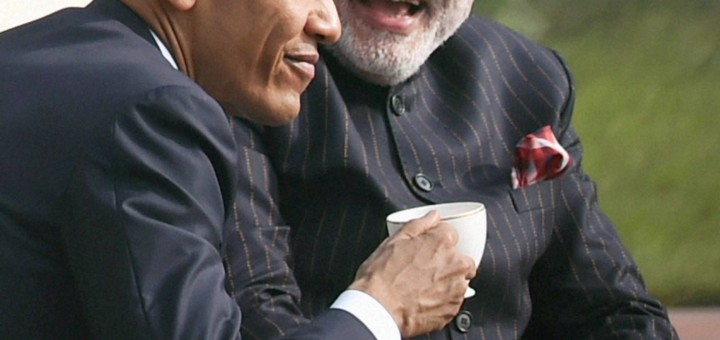 New Delhi: Prime Minister Narendra Modi and US President Barack Obama during their talks over the tea at Hyderabad House in New Delhi on Sunday. PTI Photo by Atul Yadav  (PTI1_25_2015_000266B) *** Local Caption ***