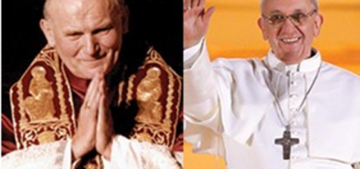 Popes John Paul II and Francis