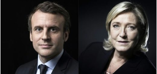 Centrist Emmanuel Macron 39, (Left) and far-right leader Marine Le Pen, 48, (Right)