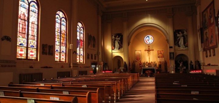 (RNS1-may11) The interior of St. Roch Church in the Staten Island borough of New York is seen between Sunday morning Masses on Nov. 2, 2014. The NY Archdiocese announced last fall that, as part of a massive consolidation and closing process involving dozens of churches, masses and sacraments will no longer available on a weekly basis at St. Roch Church. For use with RNS-PEW CATHOLIC, transmitted on May 11, 2015, RNS photo by Gregory A. Shemitz