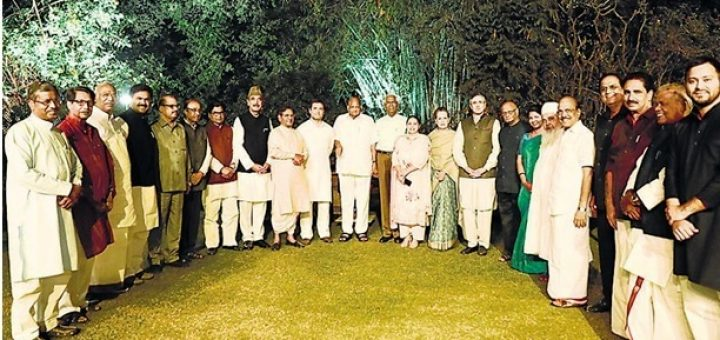Congress president Rahul Gandhi and other leaders during a dinner hosted by Sonia Gandhi, March 13