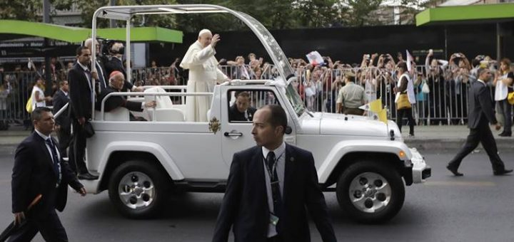 Santiago: Pope Francis waves to followers on his way to the Apostolic Nunciature in Santiago, Chile, Monday, Jan. 15, 2018. AP/PTI(AP1_16_2018_000011B)