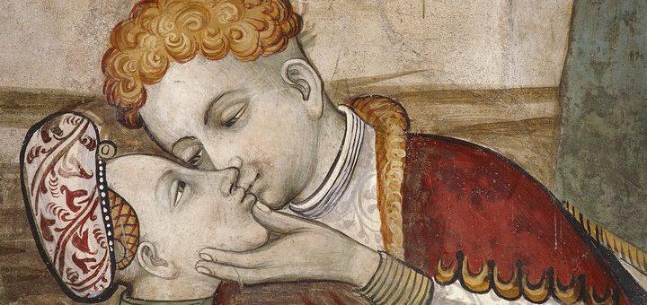 Frescoes of Baronial Hall (15th century), detail, Della Manta Castle, Manta (Cuneo), Piedmont, Detail, Italy, 13th-16th century